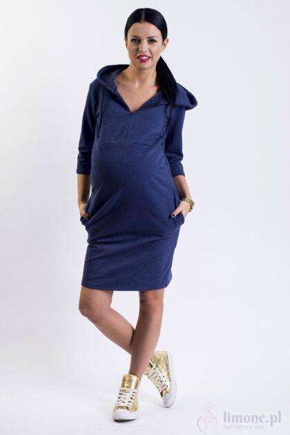 Sukienka dresowa ciążowa i do karmienia Helen jeans melanż