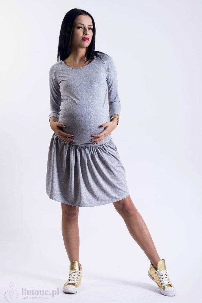 Sukienka ciążowa i do karmienia Hanna szara