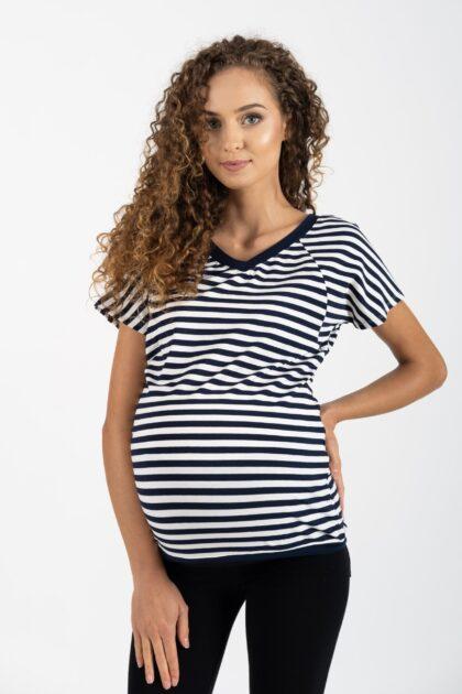 Bluzka ciążowa i do karmienia Mindy paski