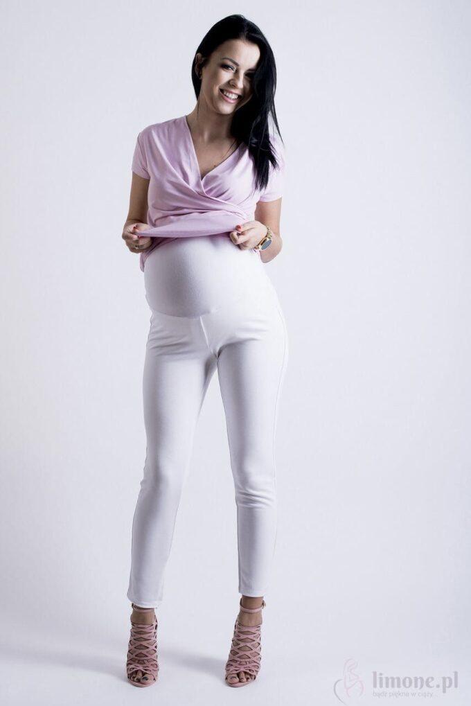 Spodnie ciążowe Kama białe