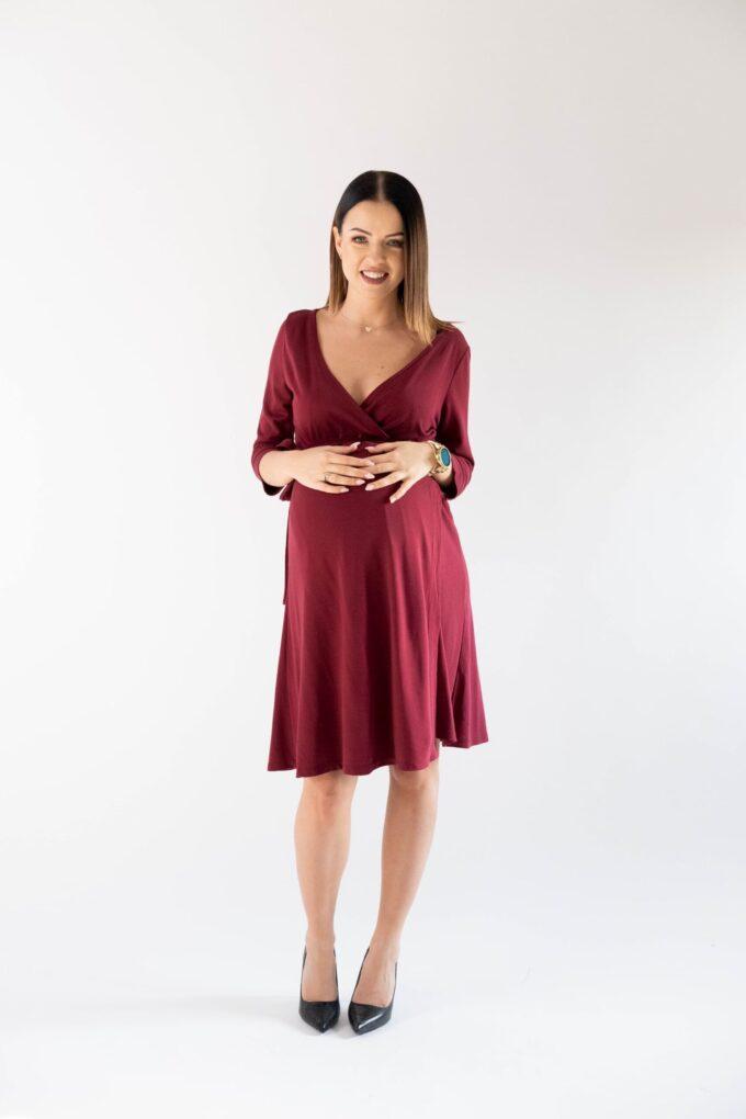 Sukienka ciążowa i do karmienia Klara burgund