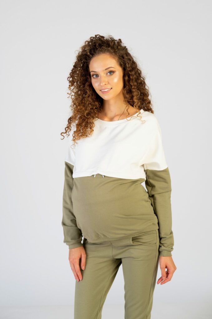 Bluza ciążowa i do karmienia Nina khaki